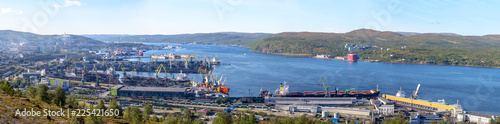 Fotobehang Poort Panorama of the Mumansk sea port on a sunny summer gay