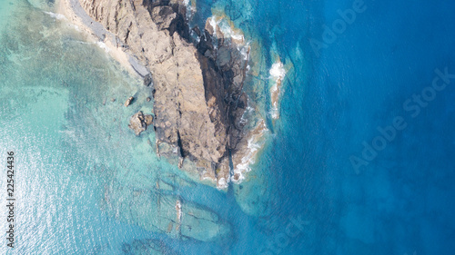 Photo Stands Air photo Aerial view of clear turquoise water in Porto Santo Island.