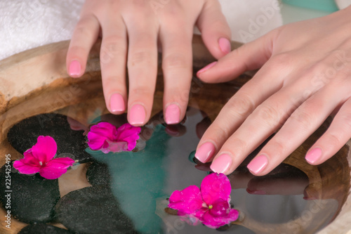 Poster Pedicure Woman hands with gently pink nails gel polish above water with violet flowers and black stone in wooden bowl. Manicure and beauty concept. Close up, selective focus