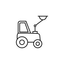 Crane Tractor Icon. Element Of Construction Machine Icon For Mobile Concept And Web Apps. Thin Line Crane Tractor Icon Can Be Used For Web And Mobile