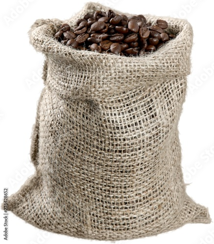 Canvas Sack of Coffee Beans - Isolated