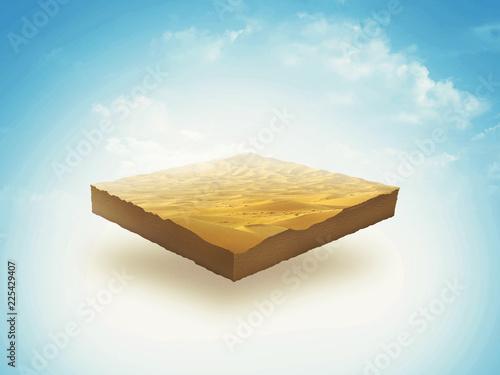 Fotografie, Obraz  3d illustration of a soil slice, Desert, sand, dune isolated on blu sky