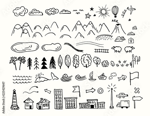 Drawing doodling map elements. Cartoon style collection for create an own unique map. Decorative topography sketch.