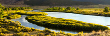 Panorama Of The Green River As It Flows Through Browns Park National Wildlife Refuge, A Wild, Beautiful, Remote Area Of Mountains, Prairies, And Wetlands In The Extreme Northwest Corner Of Colorado