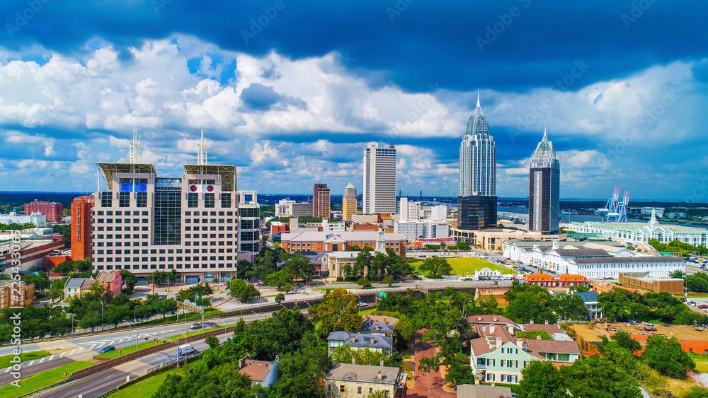 Fototapety, obrazy: Aerial View of Downtown Mobile, Alabama, USA Skyline