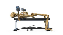 Funny Skeleton Lifting Weights...