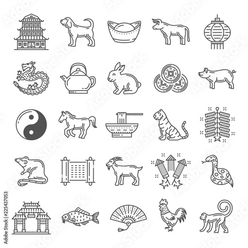 Foto  Chinese culture line art icons with zodiac animals