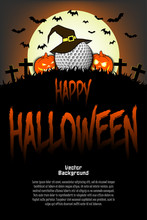 Golf Ball With Witch Hat And Happy Hallowen