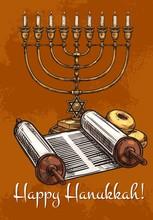 Happy Hanukkah Greeting Card, Vector Sketch