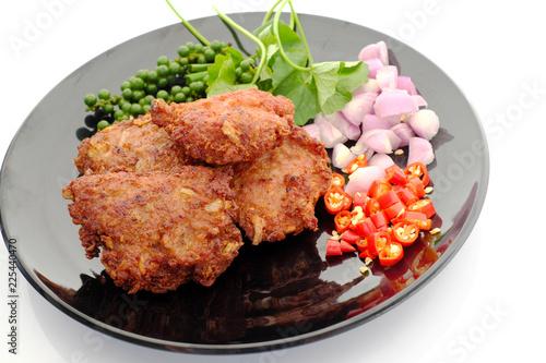 Fotografie, Obraz  Pork fried spicy Thailand on  white background