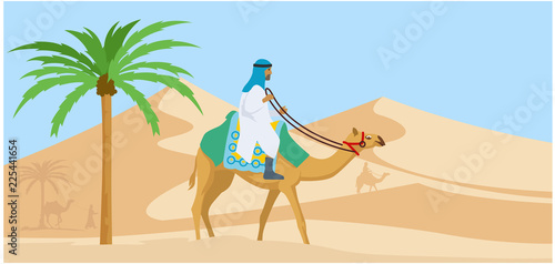 Fotografering  Arabian guy riding his camel trough desert