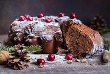 Holiday Dessert. Traditional Homemade Christmas Chocolate Cake With Cherry On Wooden Table Background With Festive Decoration. Rustic Style.