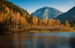 Autumn in mountains range Khamar-Daban in Eastern Siberia