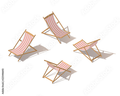 Isolated isometric chaise-longue wooden red striped deck chair, isolated on white background Fototapet