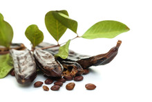 Carob Pods On White Background. Healthy Organic Sweet Carob Pods With Seeds And Leaves