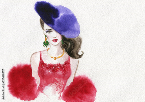 Wall Murals Watercolor Face beautiful woman. fashion illustration. watercolor painting