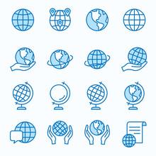 Globe Flat Line Icon Set. Vect...