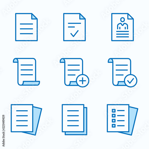 Fotomural Document flat line icon set