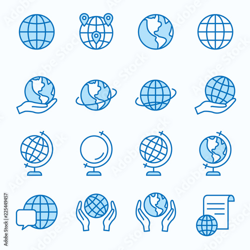 Fotografie, Tablou  Globe flat line icon set. Vector illustration. Editable stroke.