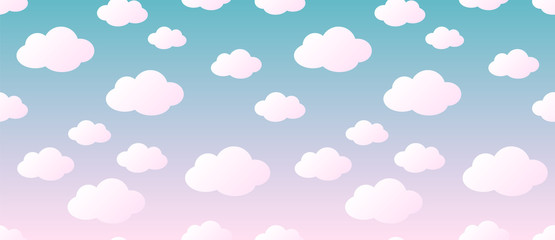 Fototapeta Minimalistyczny Cute Clouds Pattern. Endless Vector.
