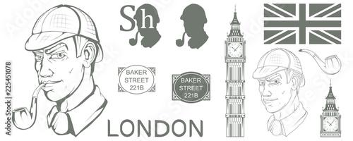 Photo Sherlock Holmes vector, London, ilustration with Sherlock Holmes, Baker street 2