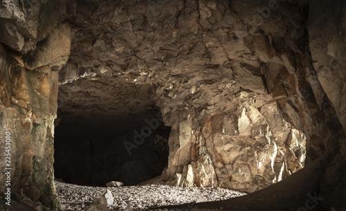 In the corridors of a creepy dark cave.
