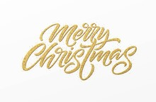 Merry Christmas Card With Gold...