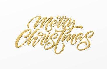Merry christmas card with golden glitter lettering. Hand drawn text, calligraphy for your design. Vector illustration.