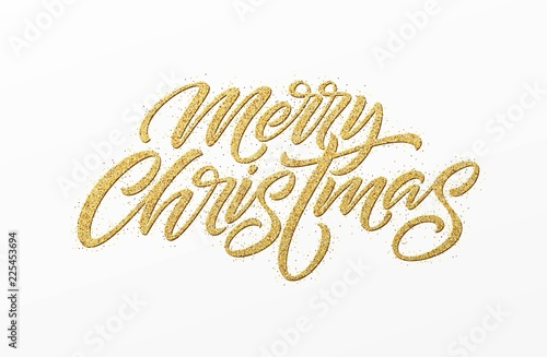 Fotografie, Obraz  Merry christmas card with golden glitter lettering