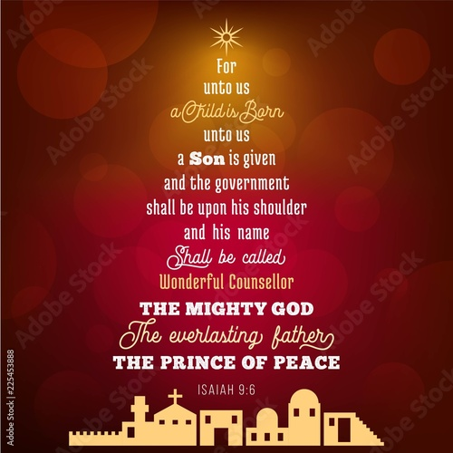 Photo Bible verse from Isaiah 9:6 about jesus christ , a child is born, on bokeh backg