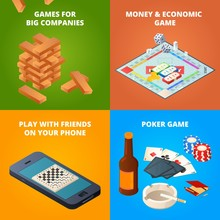 Concept Of Board Games. Checkers, Chess And Other Games. Vector Economic Game, Checker And Chess Illustration
