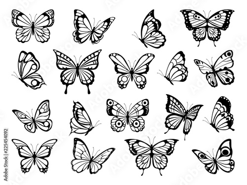 Silhouettes of butterflies. Black pictures of funny butterflies. Insect butterfly black silhouette, winged gorgeous animal, vector illustration - 225454092