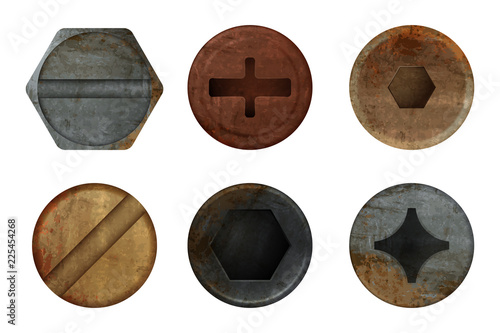 Obraz Old rusty bolts screw. Hardware rust metal texture for different iron tools. Vector realistic pictures screw bolt top, iron rusty head fix illustration - fototapety do salonu
