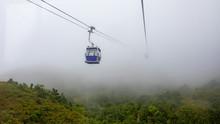 Ngong Ping Cable Car Hong Kong China In The Rainy Season And Fog
