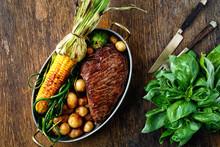 Fried Beef Steak Vegetables Fr...
