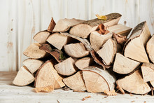 Woodpile Of Chopped And Split Firewood