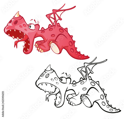 Poster Babykamer Illustration of a Cute Red Dragon. Cartoon Character. Outline Draving