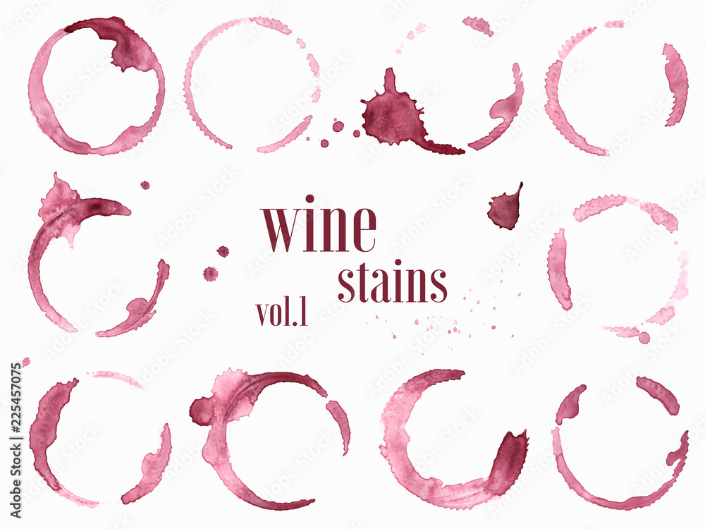 Fototapety, obrazy: Set of wine stains and splatters. Vector illustration