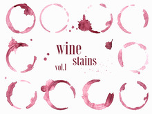 Set Of Wine Stains And Splatte...