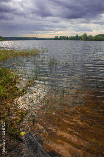 Landscape of middle belt of Russia with lake Valdai