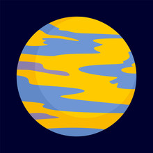 Yellow Planet Icon. Flat Illustration Of Yellow Planet Vector Icon For Web Design