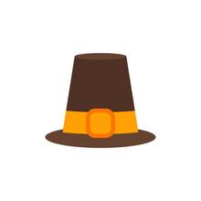 Vector Illustration. Pilgrim Hat Flat Isolated Icon. Thanksgiving Symbol