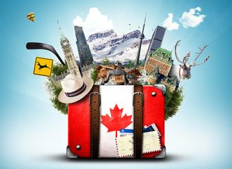Kanada, retro kofer sa šeširom i kanadskim atrakcijama