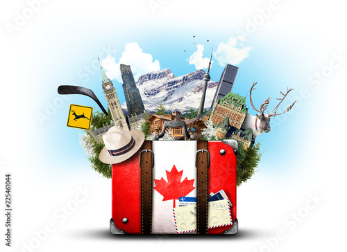 Keuken foto achterwand Centraal-Amerika Landen Canada, retro suitcase with hat and canadian attractions