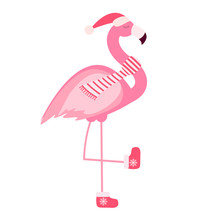 Cute Pink Flamingo New Year And Christmas Background Vector Illustration