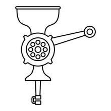 Hand Meat Grinder Icon. Outline Hand Meat Grinder Vector Icon For Web Design Isolated On White Background