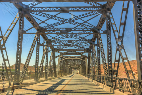 Foto op Canvas Route 66 Iron bridge over the railroad in Barstow California on the historic Route 66. North 1st Street Bridge.