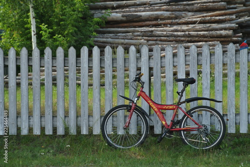 In de dag Fiets red bicycle on the background of a wooden fence under the birch
