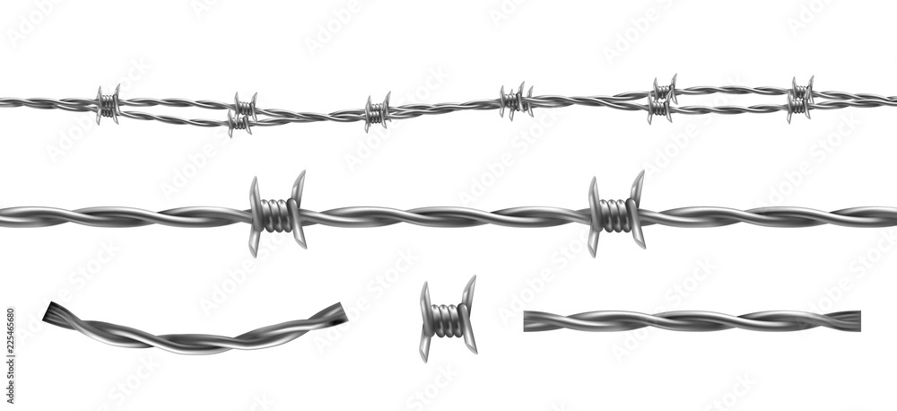 Fototapeta Barbed wire vector illustration, horizontal seamless pattern and separate elements of barbwire isolated on background. Metal protective barrier with sharp barbs for industrial and agricultural fencing