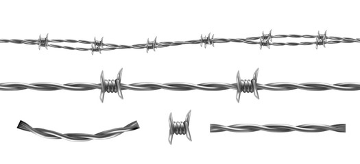 Barbed wire vector illustration, horizontal seamless pattern and separate elements of barbwire isolated on background. Metal protective barrier with sharp barbs for industrial and agricultural fencing
